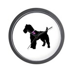 Fox Terrier Breast Cancer Sup Wall Clock