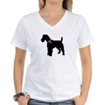 Fox Terrier Breast Cancer Sup Women's V-Neck T-Shi