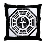 Dharma Black Ankh Throw Pillow