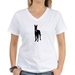 Great Dane Breast Cancer Supp Women's V-Neck T-Shi