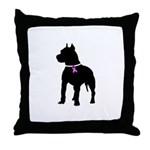 Pitbull Terrier Breast Cancer Throw Pillow