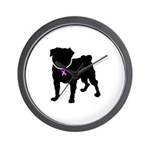 Pug Breast Cancer Support Wall Clock