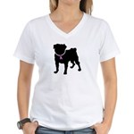 Pug Breast Cancer Support Women's V-Neck T-Shirt