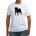 Pug Breast Cancer Support Fitted T-Shirt
