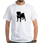 Pug Breast Cancer Support White T-Shirt