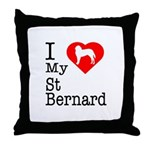 I Love My Saint Bernard Throw Pillow