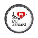 I Love My Saint Bernard Wall Clock