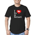 I Love My Saint Bernard Men's Fitted T-Shirt (dark