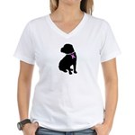 Shar Pei Breast Cancer Suppor Women's V-Neck T-Shi