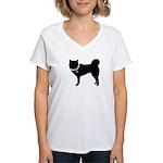 Siberian Husky Breast Cancer Women's V-Neck T-Shir