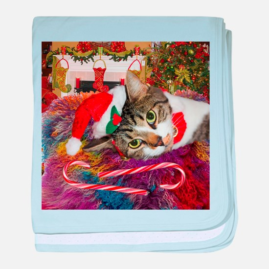 Candy Cane Cat baby blanket