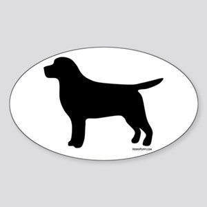 Black Lab Silhouette Sticker (Oval)