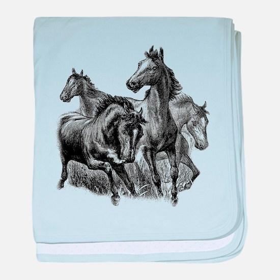 Wild Horses Illustration baby blanket