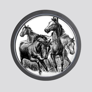 Wild Horses Illustration Wall Clock