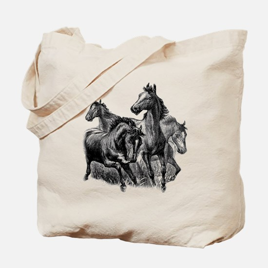 Wild Horses Illustration Tote Bag