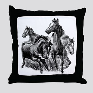 Wild Horses Illustration Throw Pillow