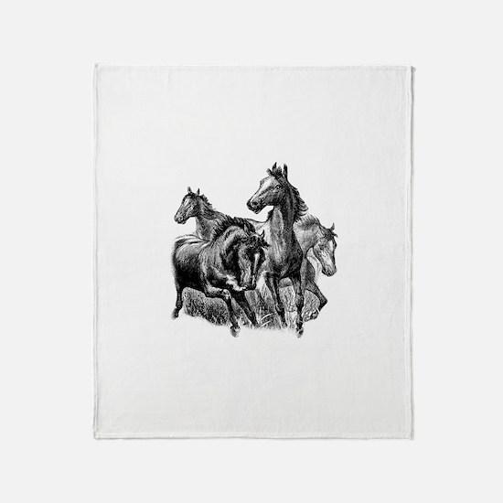 Wild Horses Illustration Throw Blanket