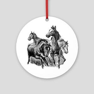Wild Horses Illustration Ornament (Round)