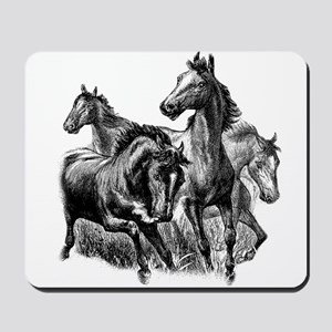 Wild Horses Illustration Mousepad