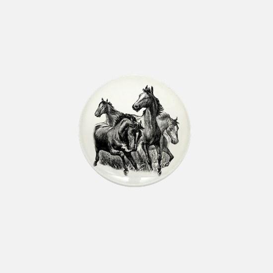 Wild Horses Illustration Mini Button