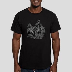 Wild Horses Illustration Men's Fitted T-Shirt (dar