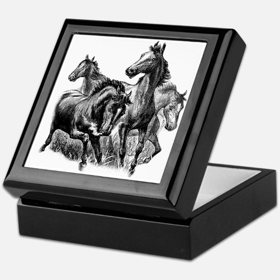 Wild Horses Illustration Keepsake Box