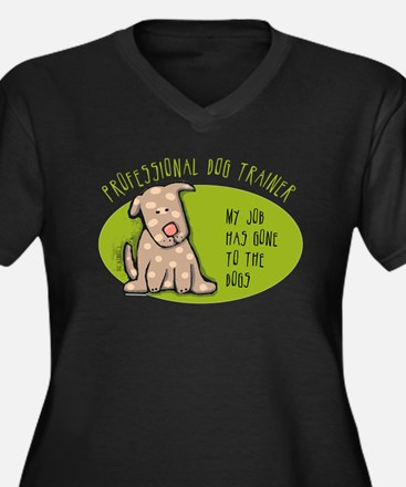 Funny Dog Trainer Women's Plus Size V-Neck Dark T-