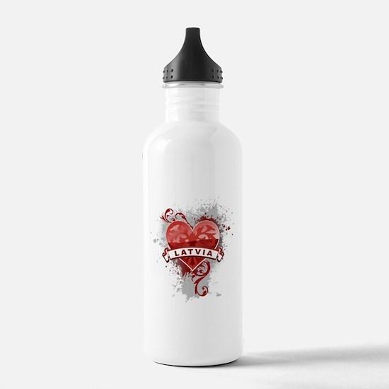 Heart Latvia Water Bottle
