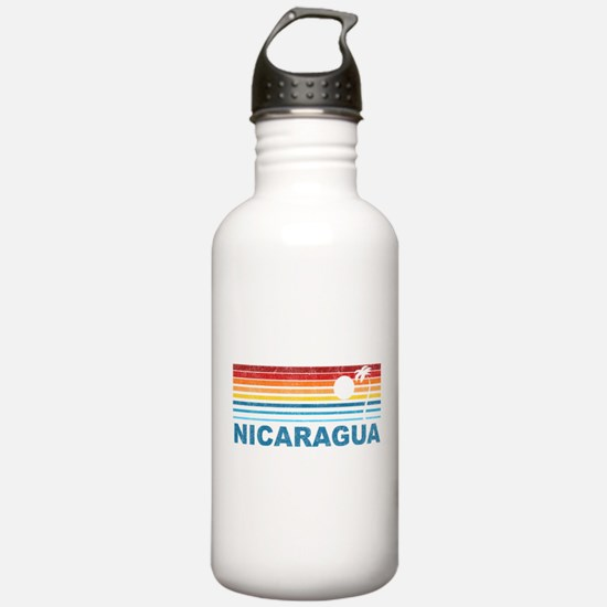 Retro Nicaragua Palm Tree Water Bottle
