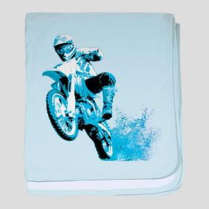Blue Dirtbike Wheeling in Mud baby blanket