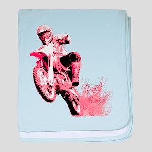 Red Dirtbike Wheeling in Mud baby blanket