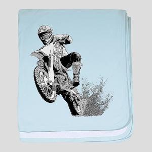 Dirtbike Wheeling in Mud baby blanket