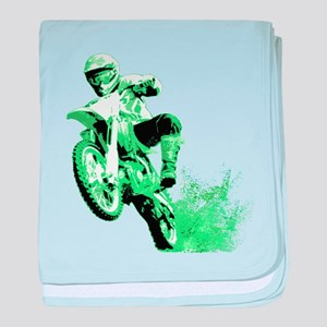 Green Dirtbike Wheeling in Mud baby blanket