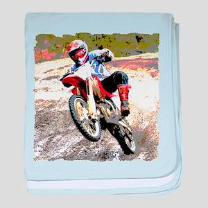 Dirt bike wheeling in mud baby blanket