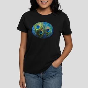 Blue Peacock Feather Women's Dark T-Shirt