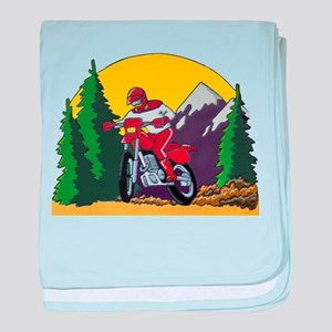 Trail Riding with a Dirt Bike baby blanket