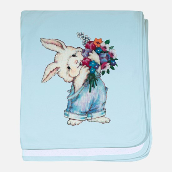 Bunny with Flowers baby blanket