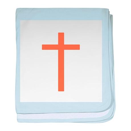 Orange Cross baby blanket
