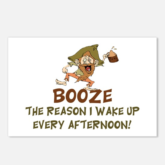 Booze The Reason I Wake U Postcards (Package of 8)