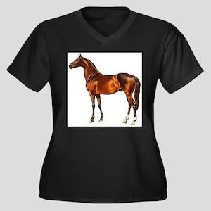 Stallion Horse Women's Plus Size V-Neck Dark T-Shi