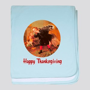 Boy and Thanksgiving Turkey baby blanket
