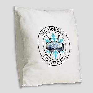 Mt. Holiday - Traverse City Burlap Throw Pillow
