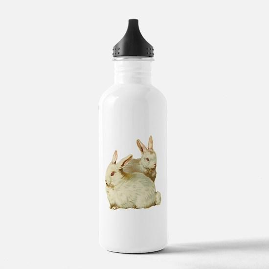 Two White Bunnys Water Bottle