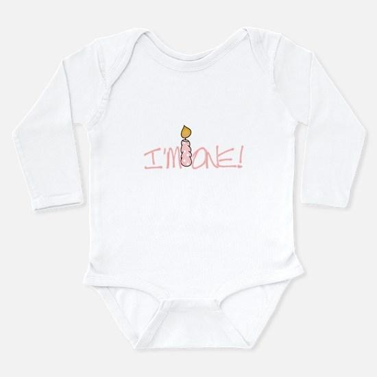 I'm One Pink Candle Long Sleeve Infant Bodysuit