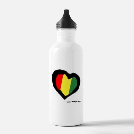 Rasta Heart Water Bottle