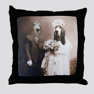 Basset VINTAGE WEDDING Throw Pillow