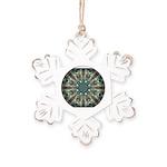 Glass Boomerang Rustic Snowflake Ornament