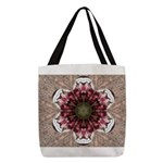 Floral Food on Paper Plates Polyester Tote Bag