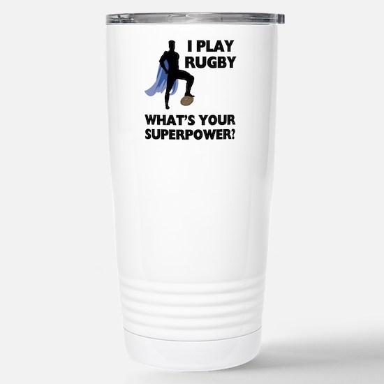 Rugby Superhero Stainless Steel Travel Mug