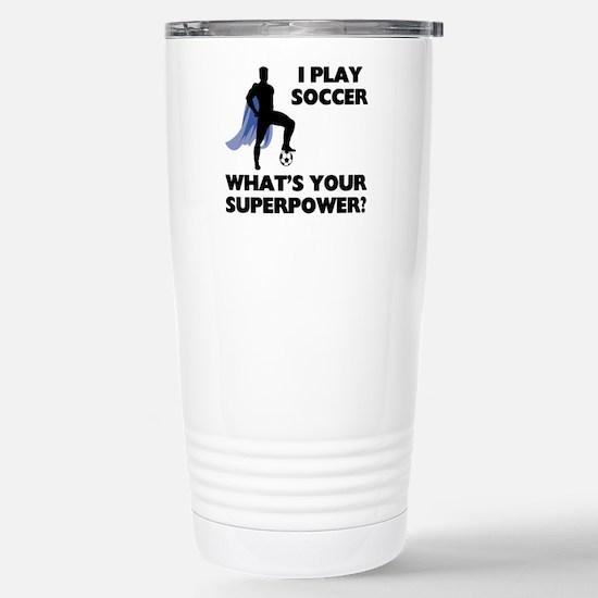 Soccer Superhero Stainless Steel Travel Mug